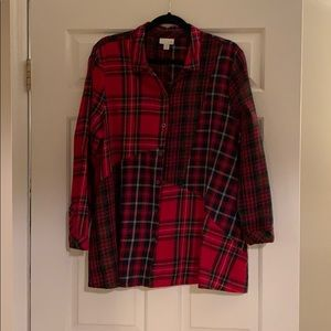 J Jill red plaid shirt, XL